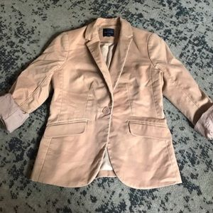 Rose Gold One Button Blazer With Polka Dot Lining